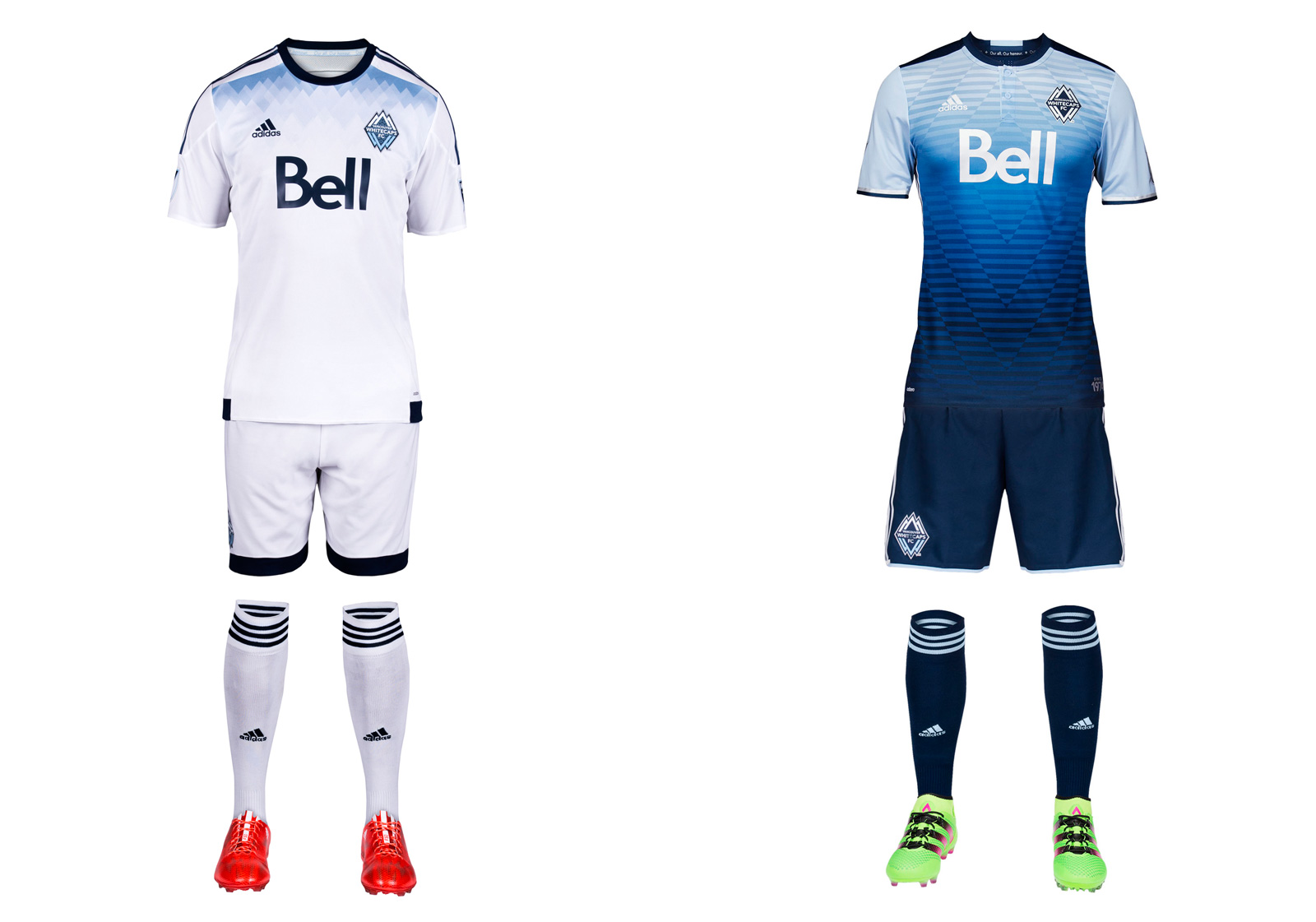 "Vancouver's new away uniform is its most daring design to date, barring the brown third kit introduced in 2012. But where that one was forgettable, the team's ""Sea to Sky"" jersey leaves an impression. The blue gradient evokes the horizon, the North Shore Mountains reflecting on the surface of the water and the club's initials. It's gorgeous. The all-white primary carries over from 2015. It includes a bit of subtle blue shading at the shoulders but is otherwise pretty anonymous. The Whitecaps just proved they can do better."